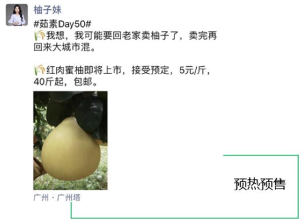 水果营销案例-柚子妹朋友圈3天卖1万+斤柚子3