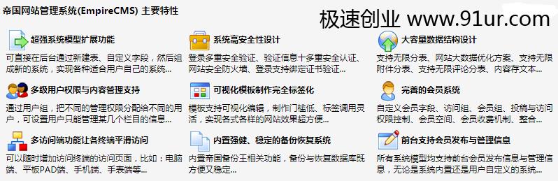 帝国网站管理系统(EmpireCMS) 主要特性