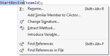 Quick actions and refactoring menu
